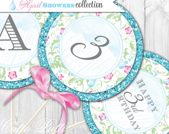 """April Showers Party Printable 4"""" Custom Party Circles by Cutie Putti Paperie"""