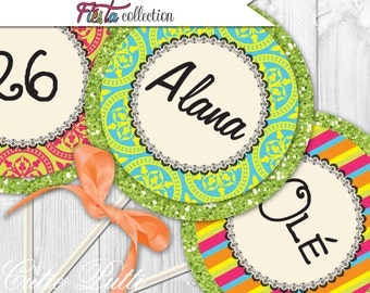 """Mexican Fiesta Party Printable 4"""" Custom Party Circles by Cutie Putti Paperie"""