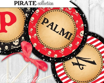 """Pirate Party For Boys Printable 4"""" Custom Party Circles by Cutie Putti Paperie"""