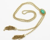 Vintage Avon Necklace Faux Jade and Tassels