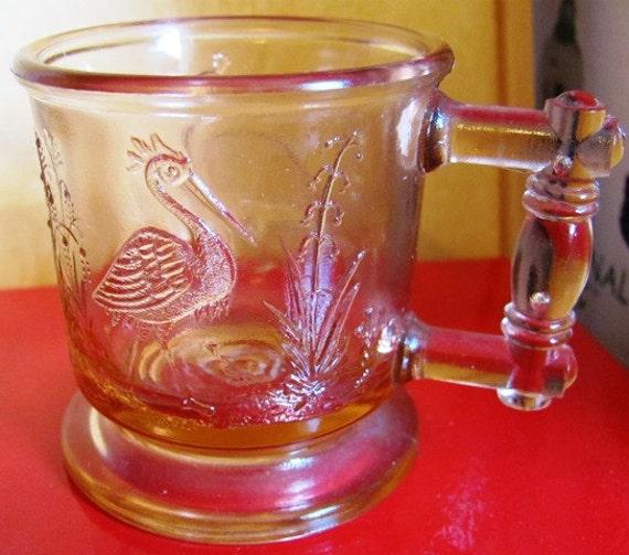 Degenhart Pink Child's Mug/Cup Peacock and Stork Pattern