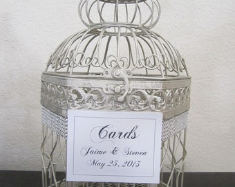 Silver Birdcage with Rhinestone Brooch and Bling-Wedding Card Holder