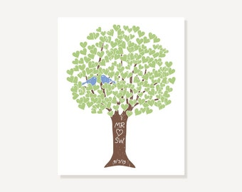 Personalized Anniversary Valentine Gift Love Tree Art Print Personalized Names Wedding Date