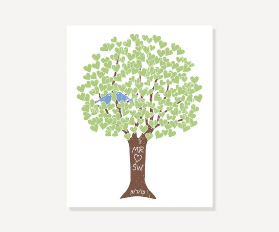 Engagement Present Wedding Gift for 1st Anniversary - Green Blue Brown Love Tree - Wall Art Digital Print - Personalized Monogram Initials