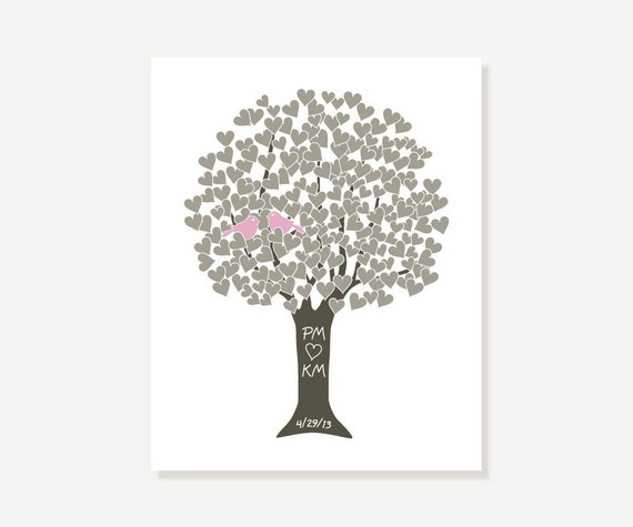 Personalized Love Tree Art Print Poster Paper Anniversary Gift Custom Couple Names, Date - Engagement, Shower