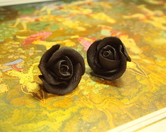 Sweet Black Rose Stud/Post Earrings (E02)