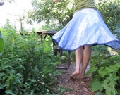 Patchwork Circle Skirt with Blue Flax Linen and Paisley Cotton Scraps