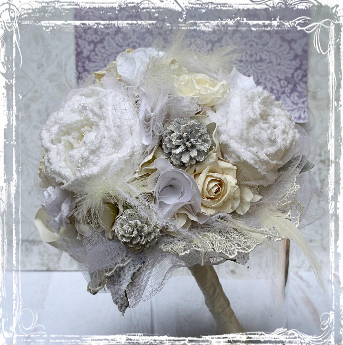 Winter White Wedding Flowers: Snowflake Fantasy Bouquet Winter White Wedding Bridal Peony