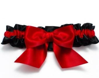 Wedding garter - bridal garter - black and red garter with a red bow - red wedding garter - red satin toss garter - red and black garter