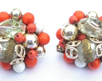Vintage Orange and White Beaded Cluster Earrings with Sugar beads and Crystal Beads, Screw Back, Pierced Conversion Available