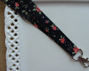 Fabric Lanyard - Delicate Blossoms on Black