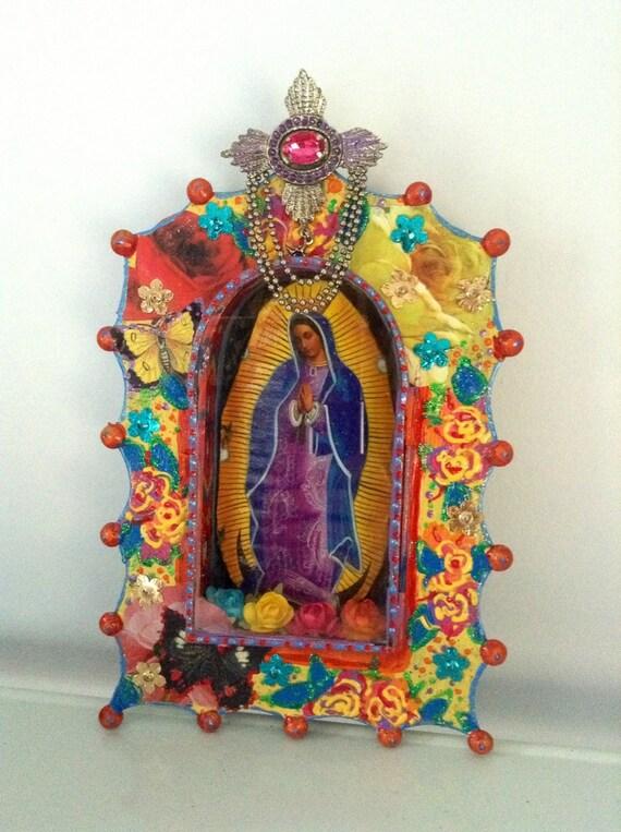 Virgin Mary Mexican Tin Nicho Shadow Box By Thevirginrose