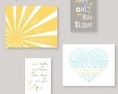Nursery Art, You Are My Sunshine Nursery Decor, Yellow Gray Aqua - Toddler Wall Art, baby gift by YassisPlace ESH YGA-001