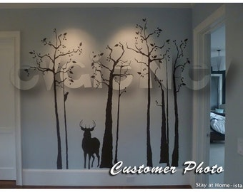 Trees with Deer Wall Decals - Home Decoration Wall Stickers TRSD010