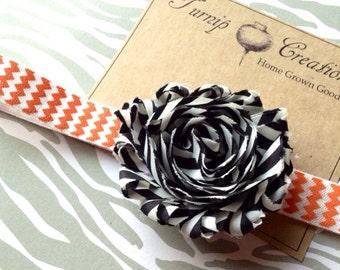 Halloween Shabby Flower Headband Black White Stripe on Orange Chevron