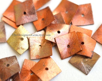 One Brushed Multi Color Oxidized Copper and Fire Torched Curved Square Spacer Cap 12mm