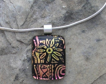 Etched Dichroic Pendant Pink Dichroic Glass Necklace