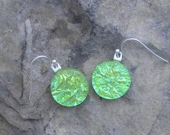 Lime Green Earrings  Fused Dichroic Glass Green Earrings