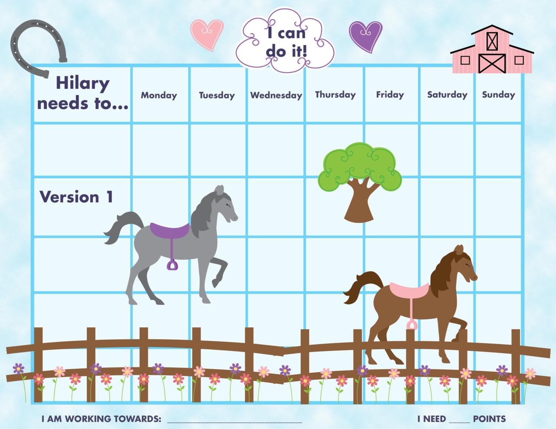 PRINTABLE Personalized Kids ChoreReward Chart Horses 3 – Kids Chore Chart Template