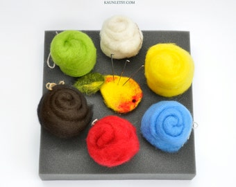 FELTING KIT and Pack Wool 3.17 oz ( 85-90grams ), basic colors. Free Shipping Worldwide