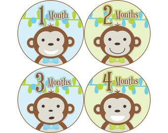 Baby Month Stickers, Monthly Baby Stickers, Monthly Photo Stickers, Boys First Year Photo Props, Baby Shower Gift, Monkeys (B004)