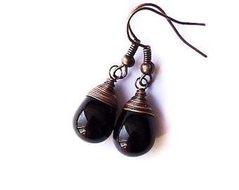 black drop earrings  - natural gothic black drop earrings