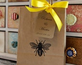 Personalized Kraft Favor Bags  & Tags  -  Set of 5  - Vintage Bee - Four Bag Sizes Available - You Choose Ribbon Color