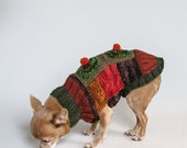 Crazy Good Patchwork Hand Knitted Chihuahua Sweater. Size Small, Forest Greens and Rust
