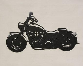 "Harley Davidson hog - 36"" wide metal wall art - wall art - Hammered Black paint"