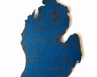 "Michigan map metal wall art 18.5"" tall - choose your color - USA map state wall art - Michigan art - detroit ann arbor lansing grand rapids"