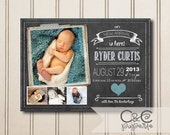 Printable Baby Boy Announcement -- Chalkboard