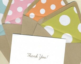 BOX OF 12 Polka Dot Thank You Notes
