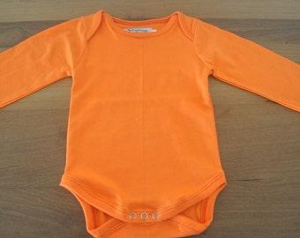 ORANGE - Solid color baby bio cotton bodysuits
