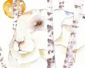 Winter Sun - RABBIT watercolor ACEO giclee PRINT arctic hare totem spirit animal - Free Shipping