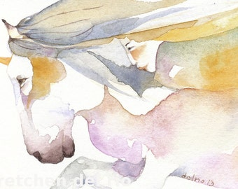 Spirit of the UNICORN totem ACEO watercolor PRINT -  two spirits  - Free Shipping