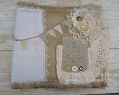Custom Burlap and Lace Wedding Photo and Guest Book