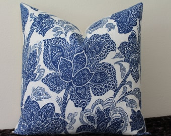 "Vervain Aida Print in Navy and Ivory - 18""x 18""  Designer Pillow Cover"