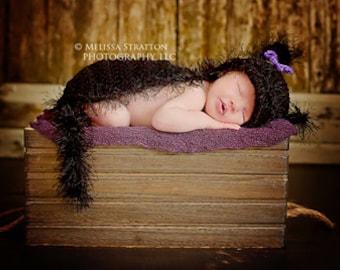 Newborn cat hat and cape set  crochet Newborn photo props photography boy girl  halloween
