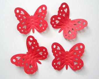 50 Large Red Embossed Butterfly punch die cut cutout scrapbooking embellishments - No1025