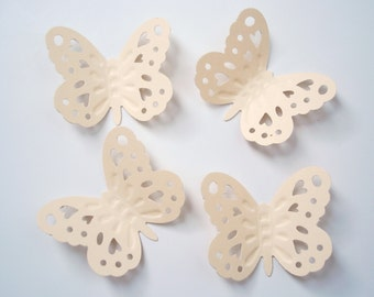 50 Large Ivory Embossed Butterfly punch die cut cutout scrapbooking embellishments - No1031