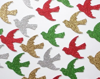 50 Glittered Christmas Dove paper punch die cut confetti scrapbook embellishments - No346