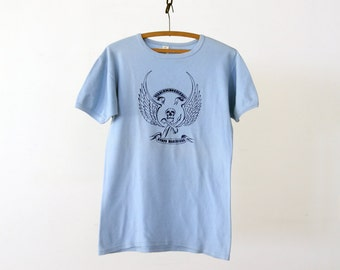 FREE SHIP  vintage military t-shirt, Korps Mariniers skull tee