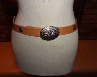 Vintage 80s Silvertone Concho Leather Belt