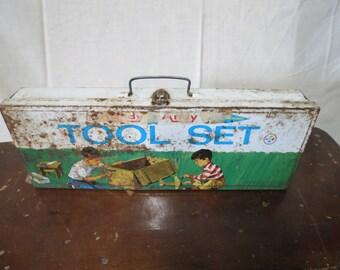 Vintage Metal Childs toolbox.