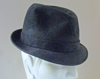 REDUCED 1960s Black Mobster Italian Kashmir Fedora Pork Pie Hat - 7 1/4