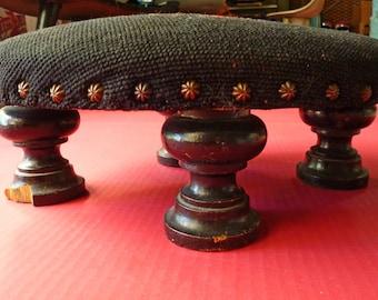 Antique Needelepoint Footstool