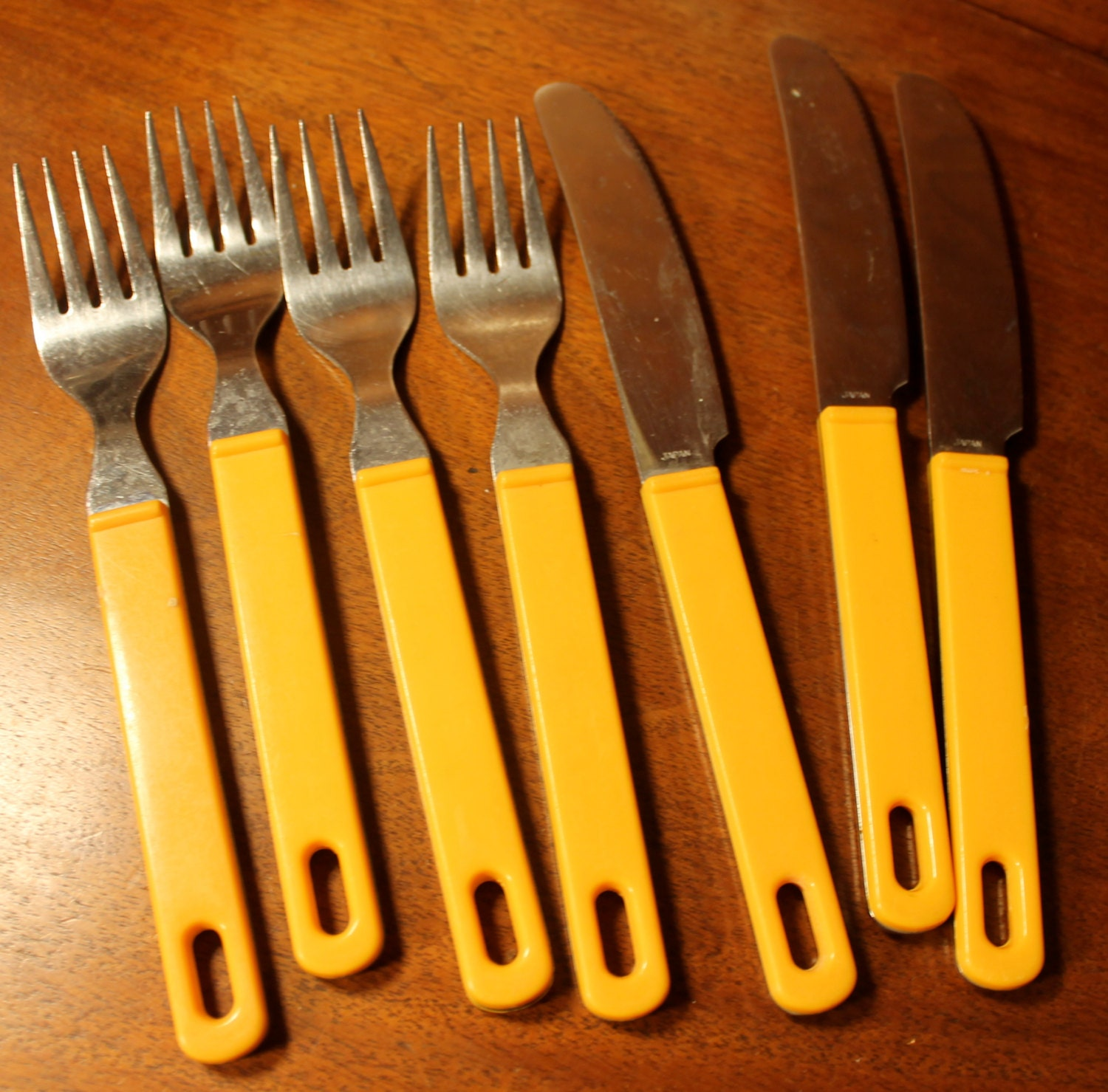 Funky Flatware With Yellow Handles Marked Elofhans Japan