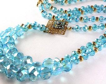 Aqua Crystal Art Deco Style Necklace, Long Necklace