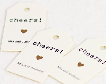 Personalized Favor Tags, Cheers, Gift Tag, Birthday Party, Wine, Champagne, Liquor Bottle Tag - 1.25 x 2.25 inches,  Set of 25, KTPR