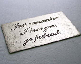 Etched Metal Wallet Card - Anniversary - Wedding - Wallet Card Insert Personalized - Couples - Valentine's Day  - Accessories